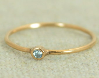 Tiny Aquamarine Ring, Aquamarine Ring, Stacking Ring, March Birthstones, Mother's Ring, Dainty Ring, Rose Gold, Tiny Ring, Stack Ring, Alari