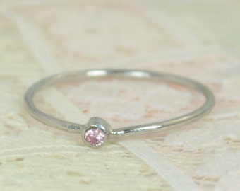 Tiny Pink Tourmaline Ring Set, Solid White Gold Wedding Set, Stacking Ring, White Gold Tourmaline Ring, October Birthstone, Bridal Set