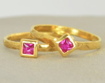 Square Ruby Ring, Ruby  Gold Ring, July's Birthstone Ring, Square Stone Mothers Ring, Square Stone Ring, Ruby Ring, Solid Gold Ring