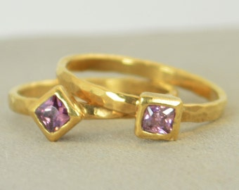 Square Alexandrite Ring, Alexandrite Gold Ring, June's Birthstone Ring, Square Stone Mothers Ring, Square Stone Ring, Alexandrite Ring