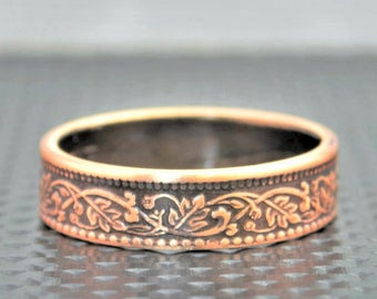 Bronze Wreath Coin Ring, India-British Coin, Bronze Ring,Coin Ring, Brown Ring,Unique BoHo Ring,Dainty Ring,Womens Coin Ring,8th anniversary