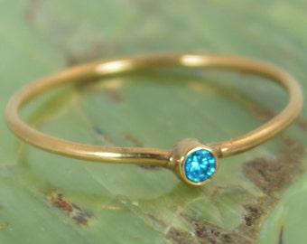 Tiny Blue Zircon Ring, Solid 14k Rose Gold Zircon Ring, Zircon Stacking Ring, Zircon Mothers Ring, December Birthstone, Solid Zircon Ring