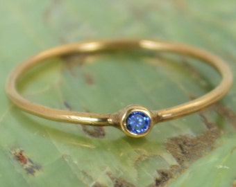 Tiny Sapphire Ring, Sapphire Stacking Ring, Solid 14k Rose Gold Sapphire Ring, Sapphire Mothers Ring, September Birthstone, Sapphire Ring