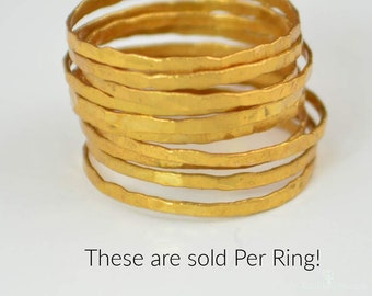 24k Gold Vermeil Stacking Ring(s), Super Thin, Gold Stack Rings, Gold Stacking Rings, Thin Gold Ring, Dark Gold Ring, 24k Gold Ring, Vermeil
