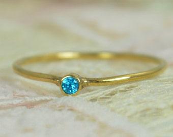 Tiny Blue Topaz Ring Set, Solid 14k Gold Wedding Set, Stacking Ring, Solid 14k Gold Ring, December Birthstone, Bridal Set, Blue Topaz Ring