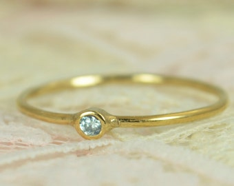 Tiny Aquamarine Ring Set, Solid 14k Gold Wedding Set, Aquamarine Stacking Ring, Solid Gold Aquamarine Ring, March Birthstone, Bridal Set