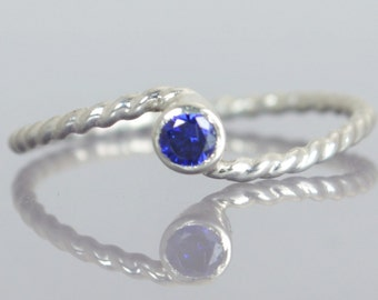 Wave Ring, Silver Wave Ring, Sapphire Mothers Ring, September Birthstone Ring, Silver Twist Ring, Unique Mother's Ring, Sapphire Ring
