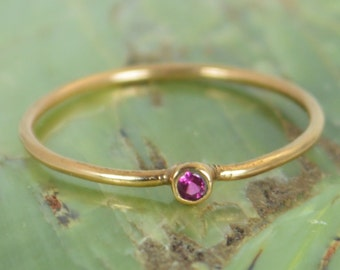Tiny Ruby Ring, Ruby Stacking Ring, Solid 14k Rose Gold Ruby Ring, Ruby Mothers Ring, July Birthstone, Ruby Ring, Dainty Ruby, Dainty Ring
