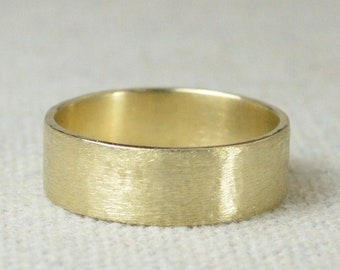 Solid 14k Gold Ring, 6mm Wide Ring, Brushed gold Band, Yellow Gold, White Gold, Rose Gold,  Wedding Band, 14k Wedding Ring, Free Engraving