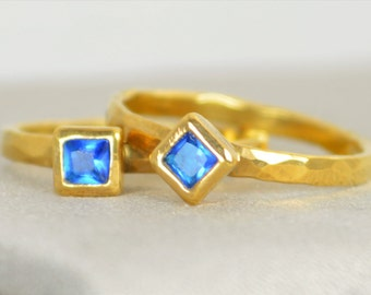 Square Zircon Ring, Blue Zircon  Gold Ring, December Birthstone Ring, Square Stone Mothers Ring, Square Stone Ring