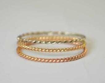 Set of 3 14k Gold Rings, Rose Gold, Yellow Gold, White Gold, Thin Stacking Ring Set, Spiral Rings, 3 Ring Set, Unique Wedding Ring Set
