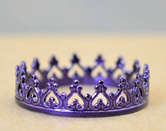 Dainty Purple Crown Ring, Purple Princess Crown Ring, Princess Ring, Tiara Ring, Queen Ring, Purple Ring, Purple Princess Ring, Purple Ring