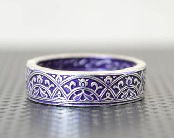 Moroccan Coin Ring, Purple Coin Ring, Stained Glass Ring, Purple Ring, Coin Art, Morocco, Silver Coin Ring, Moroccan Art, Boho Ring, Purple