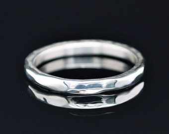 3mm wide Solid Sterling Silver Hammered Wedding Band, Wide .925 Sterling Silver Ring, Rustic Wedding Ring, Heavy Silver Ring,Free Engraving