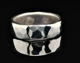7mm Wide Solid Sterling Silver Hammered Wedding Band, Wide .925 Sterling Silver Ring, Rustic Wedding Ring, Heavy Silver Ring, Free Engraving