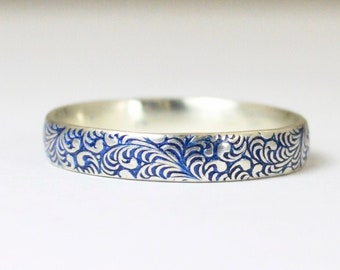 Floral Band, Silver Flower Ring, Swirl Ring, Blue Ring, Sterling Silver Ring, Sterling Stack Ring, Silver Band, Romantic Boho Ring