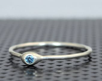 Dainty Sterling Silver Blue Zircon Mothers Ring, Birthstone, Tiny Blue Zircon Ring, Dew Drop Ring, Stacking Ring, December Birthday Gift