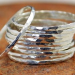 Super Thin Sterling Silver Stackable Ring(s), Silver Stacking RIngs, Silver RIng Dainty Simple Silver Ring Hammered Silver Rings Silver Band
