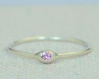 Dainty Sterling Silver Pink Tourmaline Mothers Ring, Birthstone, Tiny Tourmaline Ring, Dew Drop Ring, Stacking Ring, October Birthday Gift