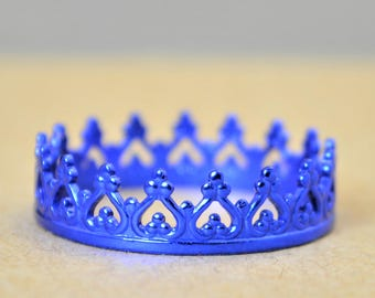 Dainty Blue Crown Ring, Blue Princess Crown Ring, Princess Ring, Tiara Ring, Queen Ring, Blue Ring, Blue Princess Ring, Blue Crown Ring