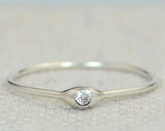 Dainty Silver Diamond Mothers Ring, Diamond Birthstone, Tiny Diamond Ring, Dew Drop Ring, Sterling Silver, Stacking Ring,April Birthday Gift