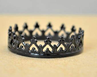 Dainty Black Crown Ring, Black Princess Crown Ring, Princess Ring, Tiara Ring, Queen Ring, Black Ring, Black Princess Ring, Black Crown Ring