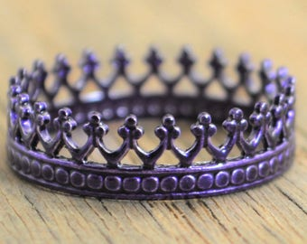Purple Ring, Purple wedding, Princess Ring, Crown Ring, Purple wedding ring, Tiara Ring, Silver Crown Ring, Queen Ring, Princess Crown Ring