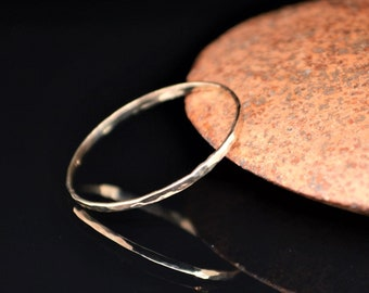 Solid 10k Yellow Gold Ring, Super Thin Stack, Hammered Minimal Gold Ring, Yellow Gold Ring, Solid Gold Ring, 10k Gold Ring, Real Gold Ring