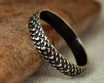 Black Snake Scale Ring, Sterling Ring, Black Dragon Scale Ring, Black Dragon Ring, Black Snake Ring, Black Snake Skin Ring, Silver band BOHO