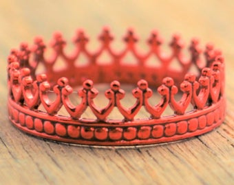 Red Ring, Red Wedding, Red Crown Ring, Princess Ring, Red Ring, Red Jewelry, Tiara Ring, Silver Crown Ring, Queen Ring. Princess Crown Ring