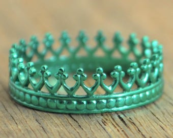 Emerald Green Ring, Princess Ring, Crown Ring, Green Ring, Emerald Ring, Tiara Ring, Silver Crown Ring, Queen Ring, Silver Ring. May Ring