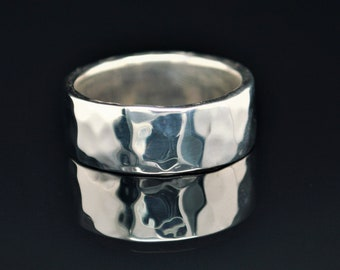 8mm Wide Solid Sterling Silver Hammered Wedding Band, Wide .925 Sterling Silver Ring, Rustic Wedding Ring, Heavy Silver Ring, Free Engraving