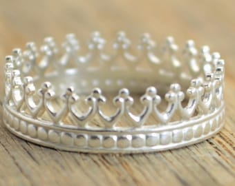 Sterling Crown Ring, Silver Princess Ring, Silver Ring, Silver Crown, Tiara Ring, Silver Crown Ring, Queen Ring, Princess Crown Ring, Crown