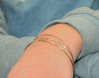 Bangle Set, Gold Filled, Rose Gold Filled, Silver Bangle, Thin Bangle, Textured Bangle, Bracelet, Hammered Bangle, Hammered Bracelet, Bangle