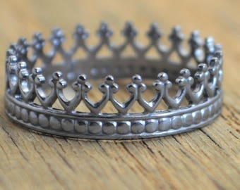Gun Metal Princess Ring, Crown Ring, Gun metal Ring, Gun metal Silver Ring, Tiara Ring, Silver Crown Ring, Queen Ring, Princess Crown Ring