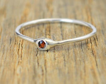 Dainty Silver Garnet Mothers Ring, Garnet Birthstone, Tiny Garnet Ring, Dew Drop Ring, Sterling Silver, Stacking Ring, January Birthday Gift