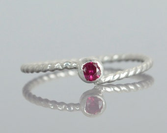 Wave Ring, Silver Wave Ring, Ruby Mothers Ring, Ruby Birthstone Ring, Silver Twist Ring, Unique Mother's Ring, Ruby Ring, July Birthstone