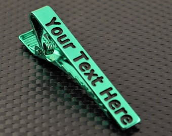 Green Tie Bar, Green Tie Clip, Green Wedding, Groomsmen Gift, Personalized Tie Bar, Custom Tie Bar, Tie clip, Green Gift, Custom Tie Clip