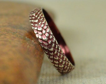 Burgundy Dragon Scale Ring, Sterling Ring, Burgundy Snake Scale Ring, Dragon Ring, Snake Ring, Burgundy Snake Skin Ring, Silver band BOHO