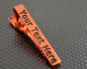 Orange Tie Bar, Orange Tie Clip, Orange Wedding, Groomsmen Gift, Personalized Tie Bar, Custom Tie Bar, Tie clip, Orange Gift,Custom Tie Clip