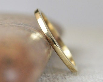 1.5mm Square Gold Ring 10k, 14k, 18k, or 22k, Solid Gold, Square Gold Band, Square Gold Ring, Real gold,Inexpensive wedding band.Yellow Gold