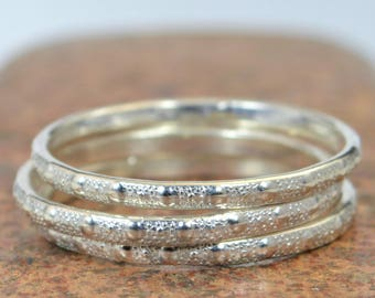 Elegant Silver Ring, Simple Wedding Band, Thin Sterling Silver Ring, Textured Silver Band, Silver Stacking Ring, Boho Silver Ring, Silver
