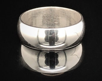 10mm Wide Solid Sterling Silver Classic Domed Wedding Band, Wide .925 Sterling Silver Ring, Cigar Band Ring, Minimalist Ring, Free Engraving