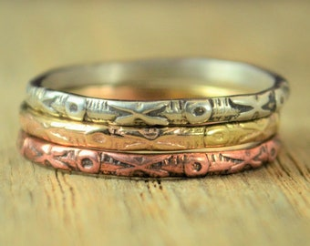 Bohemien XOXOXO Ring, Love Ring, Hugs and Kisses Ring, Promise Ring, Stacking Rings, Copper, Silver, Gold, Rose Gold, Promise Ring, love E8