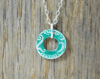 Moroccan Coin Necklace, Green Coin Necklace, Coin Art, Morocco, Silver Coin, Moroccan Art, Boho Necklace, Two-Sided, Coin Charm, Charm