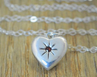 Garnet Mothers Necklace, Silver Heart Necklace, Garnet Necklace, Dainty Necklace,  Heart Necklace, Mothers  Necklace, January Birthstone
