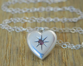 Alexandrite Necklace, Silver Heart Necklace, Mothers Necklace, Alexandrite birthstone Necklace , Dainty Heart Necklace,  June Birthstone