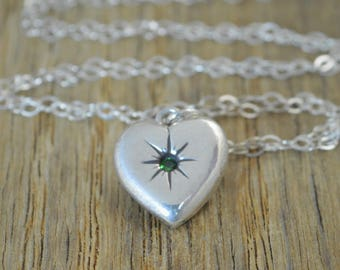 Silver Heart Necklace, Mothers Necklace, Emerald Necklace, Dainty Heart Necklace, Mothers Emerald Necklace, May Necklace, Emerald Birthstone