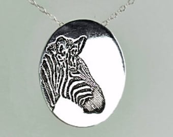 Zebra Pendant, Zebra Necklace, Silver Zebra Necklace, Animal Necklace, Zebra Jewelry, Zebra, Zebra Jewelry Set, Zebra Sterling Pendant