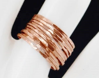 Set of 10 Super Thin Copper Stackable Rings, Copper Rings, Stackable Rings, Stacking Rings, Copper Ring, Hammered Copper Rings
